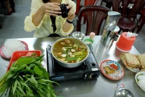 Duck hot pot in Hot Pot Alley, Can Tho, Vietnam. Photo by Bao Quan Nguyen.