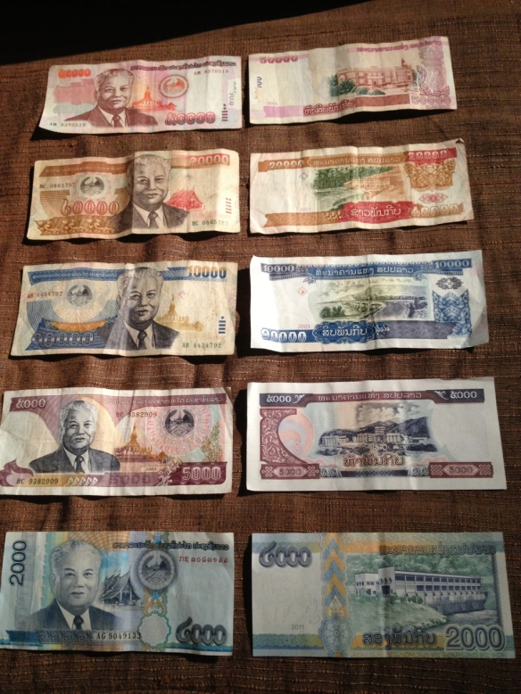 An assortment of Lao Kip - all together about $21.75