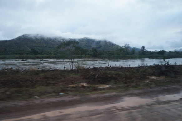 Mist and rain over the Mekong River