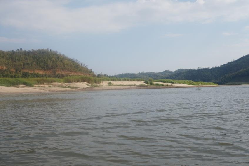 In the side channel beside a sandbar